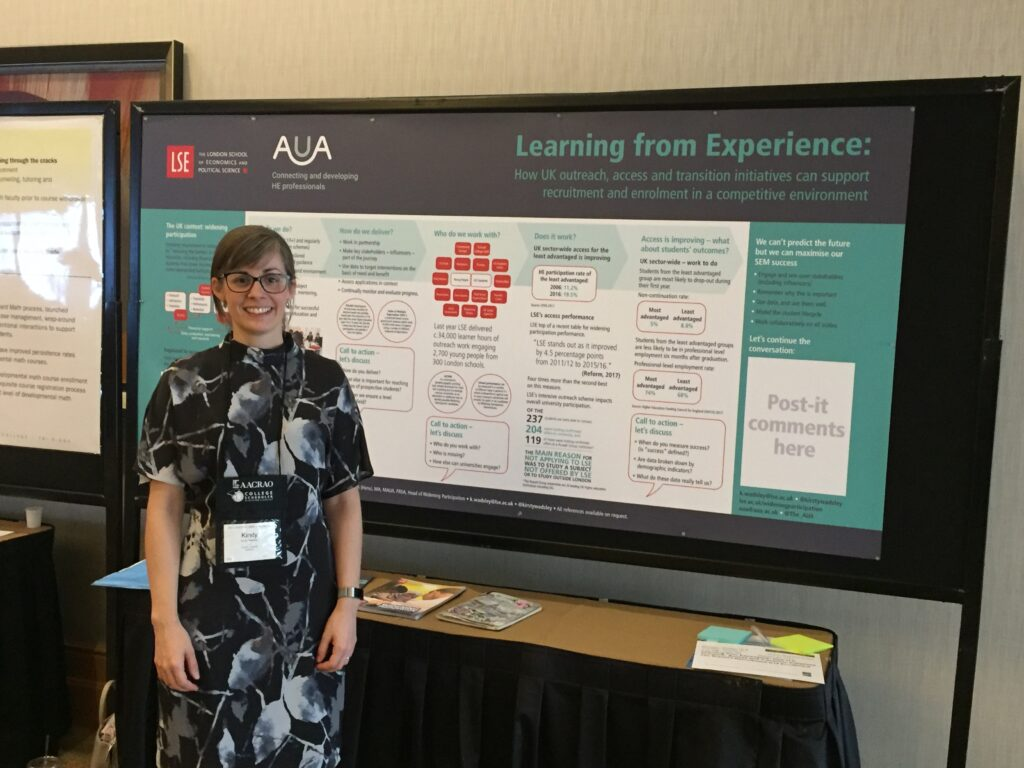 Kirsty Wadsley, head of widening participation at the London School of Economics and representative of the UK-based Association of University Administrators, presents a research poster at the 2017 AACRAO SEM Conference